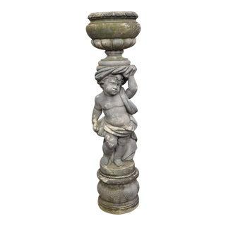 Classical Concrete Cherub Garden Pedestal Water Fountain Statue For Sale