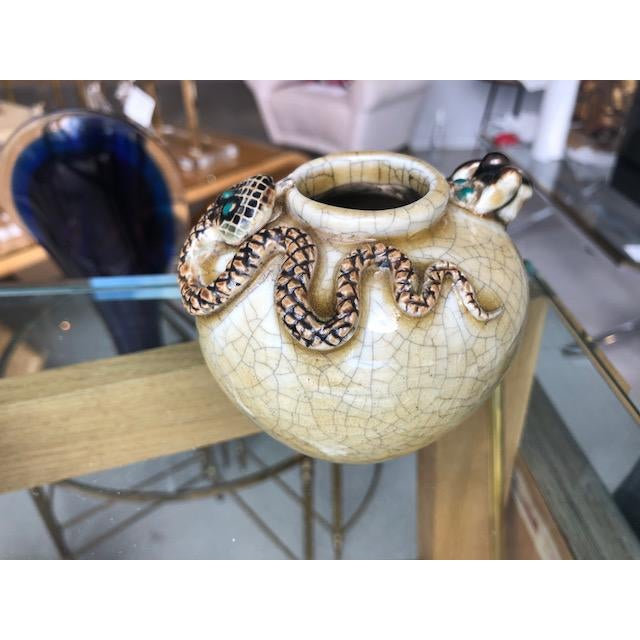 1970s Crackle-Glazed Water-Pot With Applied Snake and Rat For Sale - Image 5 of 11