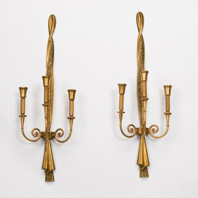 Neoclassical Tall Lumi Neoclassical Three Arm Gilded Metal Sconces For Sale - Image 3 of 9