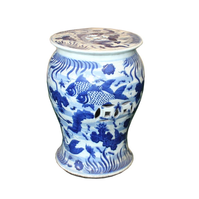 2010s Chinese Distressed Blue & White Porcelain Round Fishes Stool For Sale - Image 5 of 9