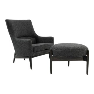 Jens Risom A-Line Lounge Chair and Ottoman in Bouclé, C. 1950s For Sale