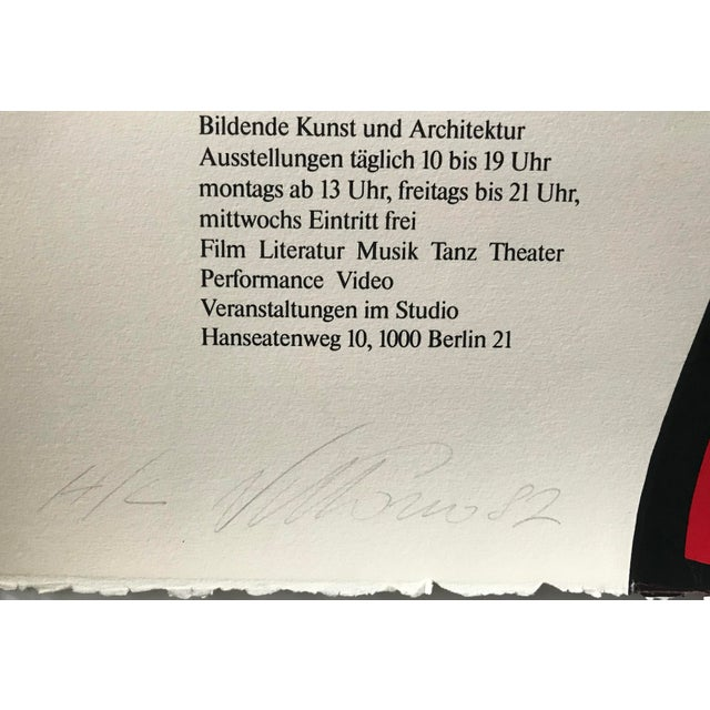 1980s Original 1983 Vittorio Poster, Akademie Der Künste, Signed and Dated For Sale - Image 5 of 6