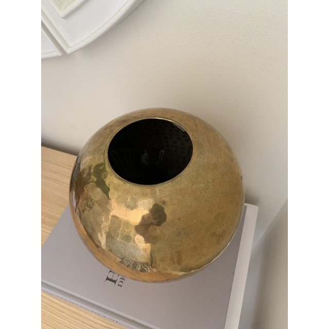 Vintage Hammered Brass Vase For Sale - Image 4 of 7