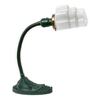 Art Deco Task Desk Lamp With Glass Shade For Sale