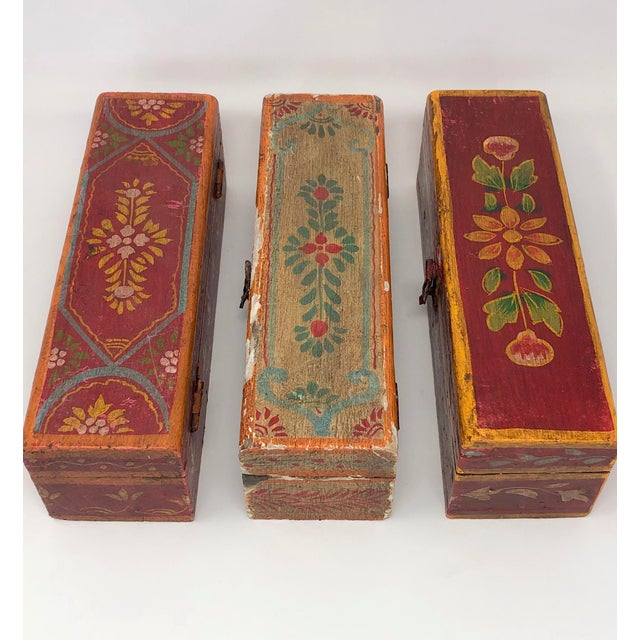 set of three antique hand pained Indian incense boxes