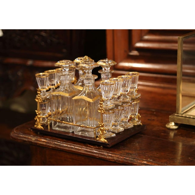 Brass 19th Century French Napoleon III Gilt Bronze and Glass Complete Cave a Liqueur For Sale - Image 7 of 11