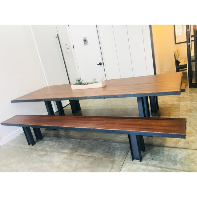 Modern Wood Table & Benches For Sale - Image 4 of 13