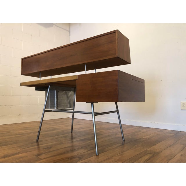 Herman Miller George Nelson for Herman Miller Walnut, Steel and Leather Mid Century Desk For Sale - Image 4 of 12