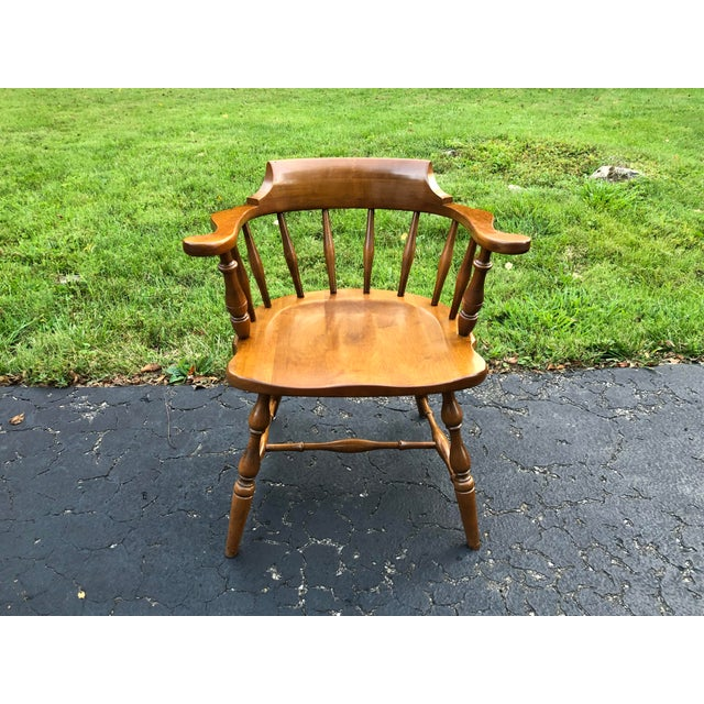 Pennsylvania House Vintage Mid Century Pennsylvania House Barrel Back Captains Chair For Sale - Image 4 of 8