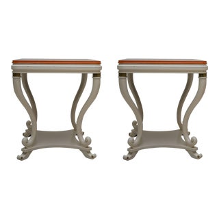 Pair of White Painted Empire Style End Tables For Sale