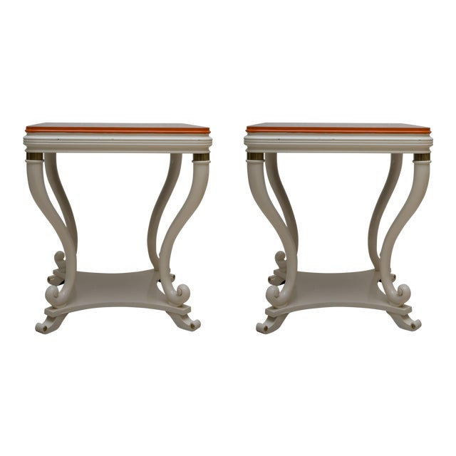 Pair of White Painted Empire Style End Tables - Image 1 of 7