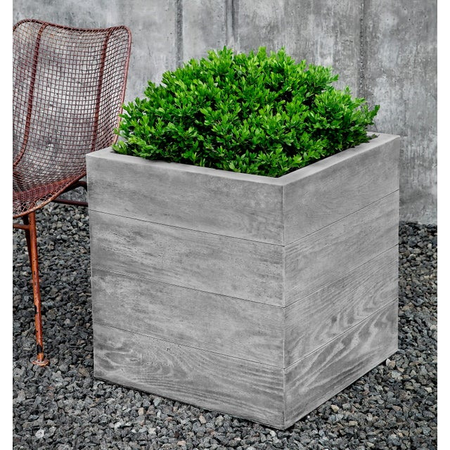 Contemporary Sycamore Square Planter, Large For Sale - Image 3 of 3