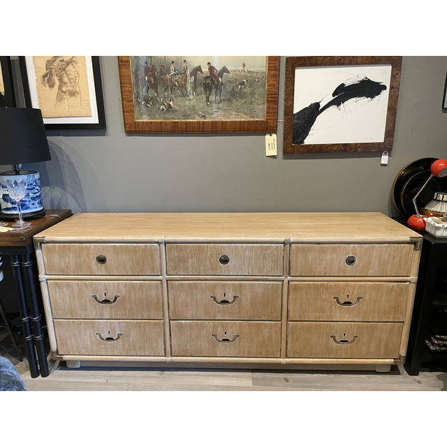 1970's Drexel Heritage Accolade Campaign Style Credenza For Sale - Image 9 of 9
