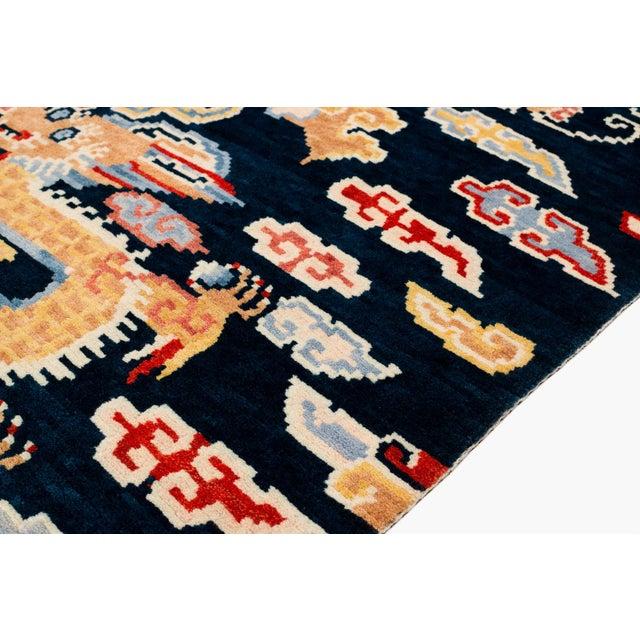 2010s Indigo Blue, Red, Green, Orange Wool Tibetan Double Dragon Area Rug For Sale - Image 5 of 8