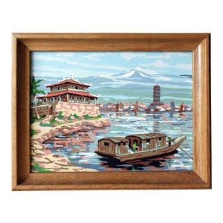 1960s Asian Boat Scene Paint by Numbers