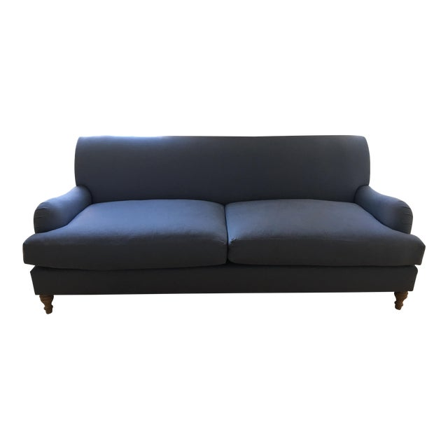Modern Traditional English Roll Arm Sofa in Blue For Sale