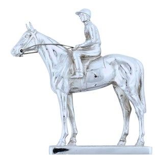 Vintage English Race Horse & Jockey Chrome Car Mascot For Sale