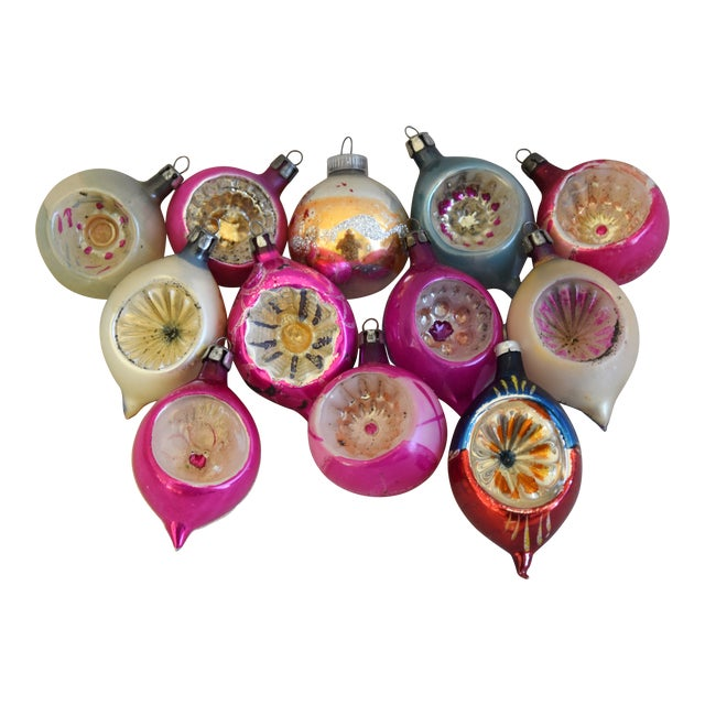 Midcentury Fancy Christmas Tree Ornaments W/Box - Set of 12 For Sale