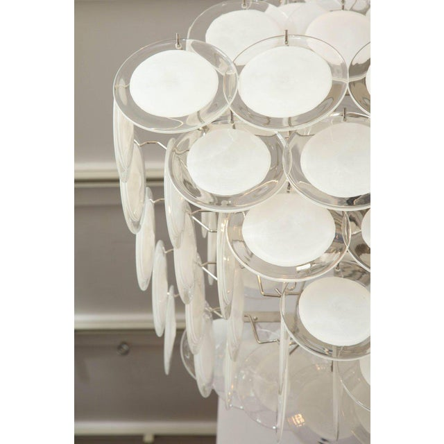 White Murano Glass Disc Chandelier For Sale - Image 8 of 10