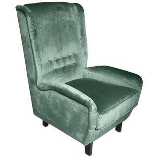 Contemporary Italian Teal Aqua Green Velvet High Back Armchair For Sale