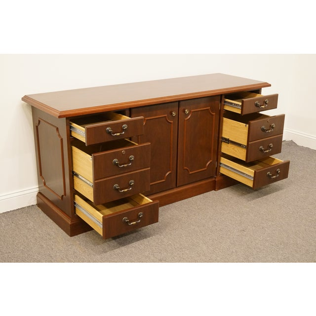 20th Century Traditional Miller Desk Solid Cherry Executive Office Credenza For Sale In Kansas City - Image 6 of 13