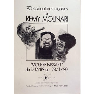 French Artist Remy Molinari Original 1980s Art Exhibition Poster For Sale