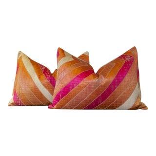 Kaush Phulkari Lumbar Pillows, Pair For Sale