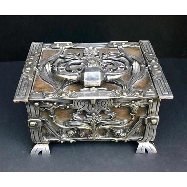 Art Nouveau 20th Century Art Nouveau Silvered Heavy Bronze Jewelry Box Casket For Sale - Image 3 of 13