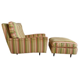 Oversized Art Deco Streamline Lounge Chair and Ottoman - 2 Pieces For Sale