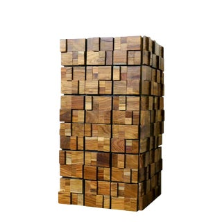 Decorative Wood Planter, Wood Mosaic, Tall, Tower, Metal, Zinc For Sale