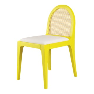 Juliette Dining Chair - Citron, Optic White Linen For Sale