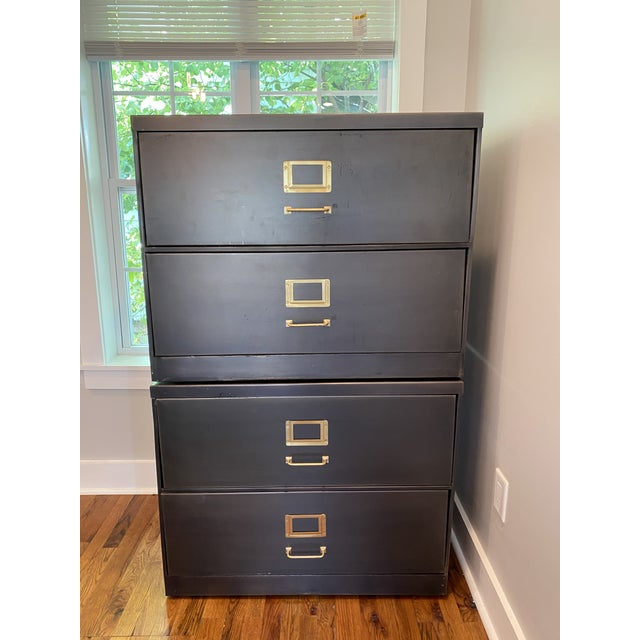 Restoration Hardware Restoration Hardware 1940s Industrial Modular Office File Cabinets - a Pair For Sale - Image 4 of 4