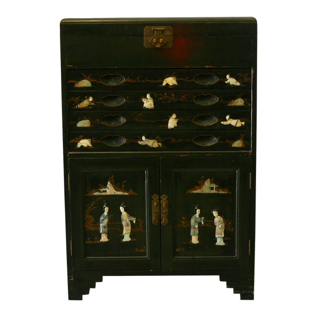 Antique Chinese Black Lacquer Pictorial China Cabinet - Image 1 of 10