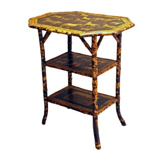 1880 French 3-Tier Bamboo Side Table