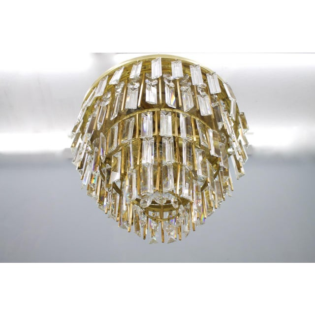 1970s Pair of Crystal Glass Flush Mount Chandelier by Palwa, Germany, 1970s For Sale - Image 5 of 11