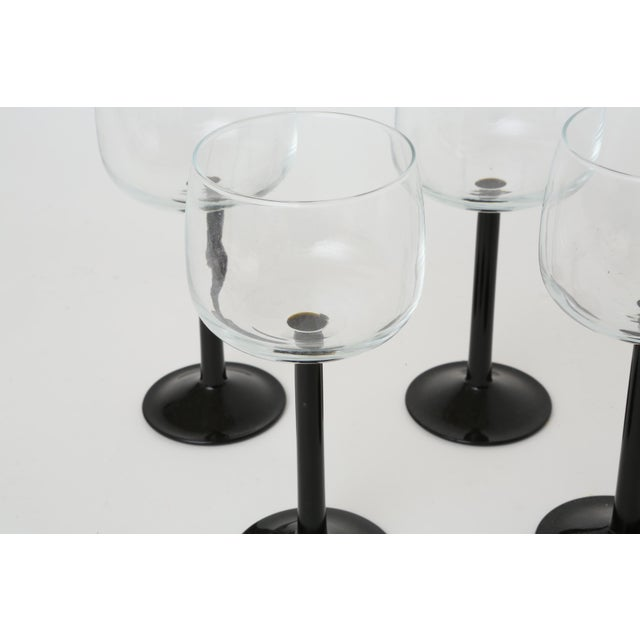 Vintage French Black Stem Glasses - Set of 4 - Image 4 of 7