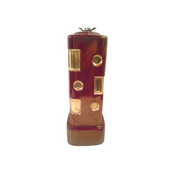 Iridescent Cranberry and Gold Geometric Ceramic Table Lamp - Image 3 of 4