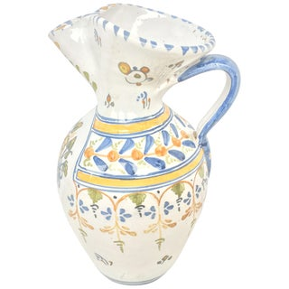 19th Century Glazed Earthenware Talavera Floral Painted Pitcher For Sale
