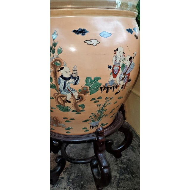 Large Chinese Fish Bowl Side Table With Stand For Sale - Image 9 of 13