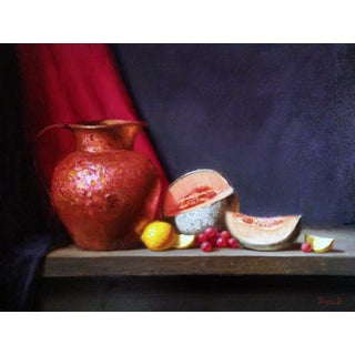 Copper Pitcher, Lemons, Grapes and Cantaloupes Painting For Sale