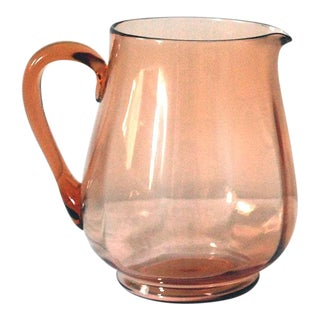 1930s Art Deco Pink Depression Glass Pitcher