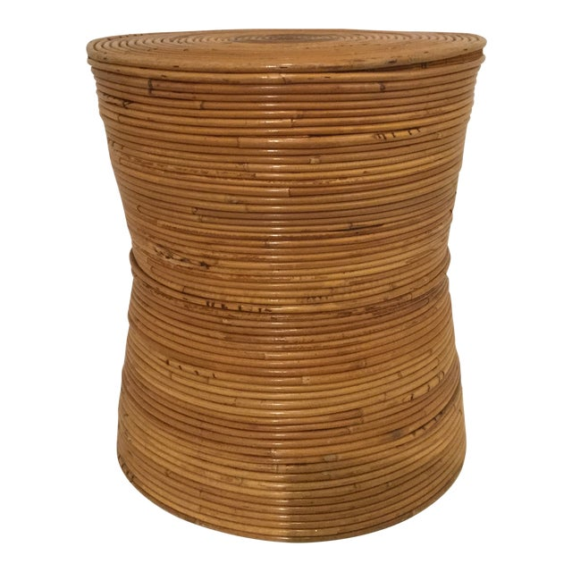 1980s Boho Chic Pencil Reed Side Table For Sale