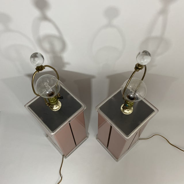 1980s Optique Mauve Lacquered Metal and Lucite Lamps- a Pair For Sale - Image 9 of 11