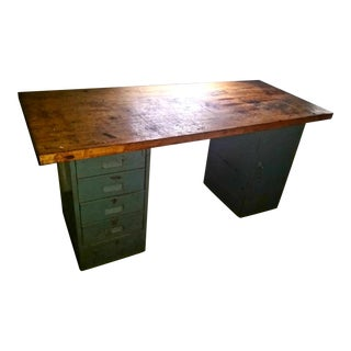 Industrial Reclaim Steel Wood Table Desk For Sale