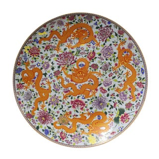 Chinese Porcelain Five Dragons Plate Charger For Sale