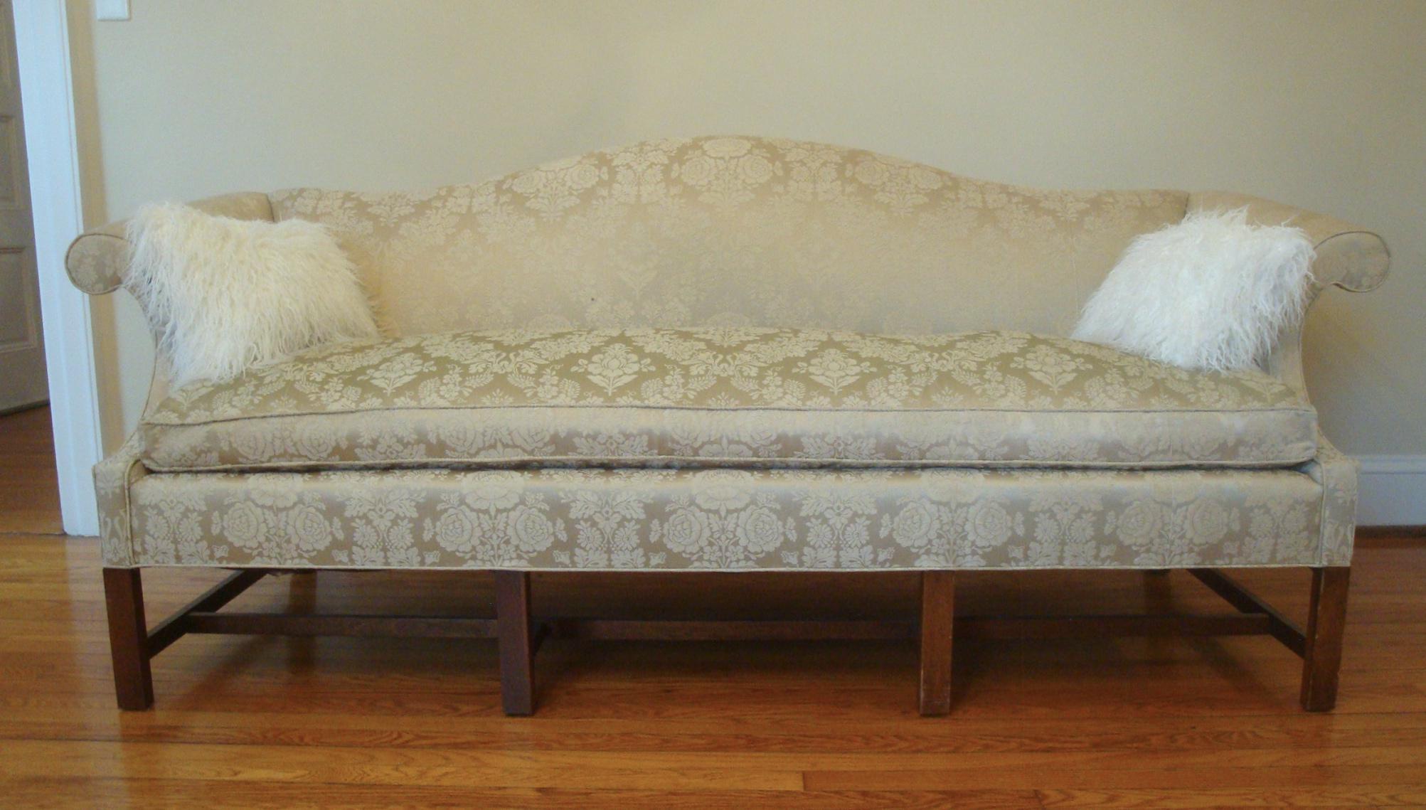 Vintage Damask Camelback Down Chippendale Sofa   Image 2 Of 11