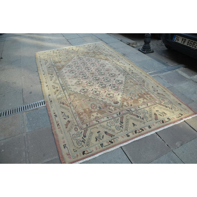 Islamic Handmade Aantolian Area Rug - 5′3″ × 9′3″ For Sale - Image 3 of 6