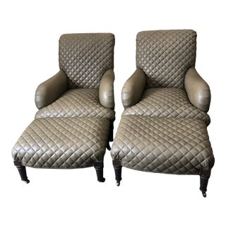 Quilted Leather Lounge Chairs With Ottomans -A Pair For Sale