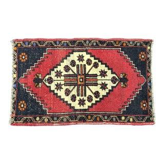 Vintage Turkish Handmade Decorative Red and Blue Rug For Sale