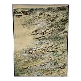 Circa 1960s Harry Day Modernist Shoreline Landscape Painting For Sale